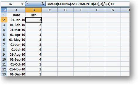 Calendar Quarter Excel Formulas To Determine Quarters For Calendar And Fiscal