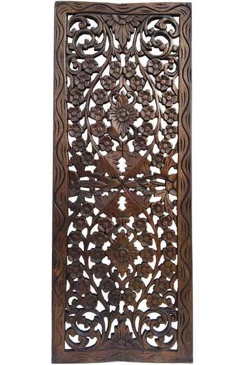 floral wood carved wall panel wall hanging asian home decor decorative thai wall relief panel