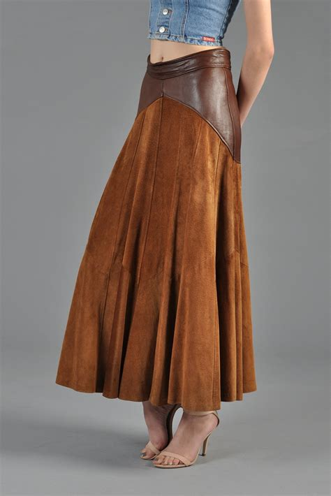 2 tone suede leather 1980s maxi skirt bustown modern