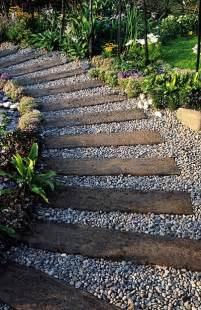 walkway ideas railway sleepers and gravel path