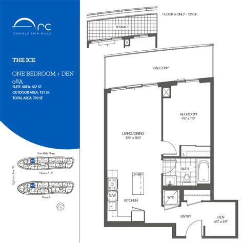 den floor plan the ice 1 bedroom den floor plan daniels arc condos