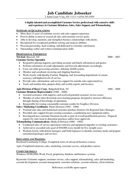 resume sle for server customer service resume format roiinvesting
