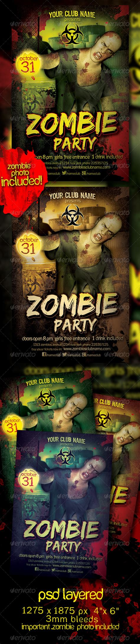 zombie powerpoint themes zombie party flyer template by gabrielmatari graphicriver