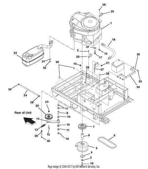 ariens   zoomxl  hp kawasaki  deck parts diagram  engine exhaust