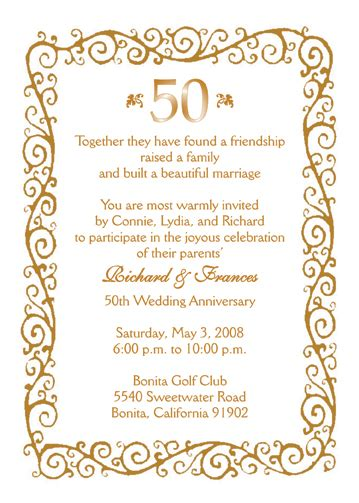 50th birthday program template 25 personalized 50th wedding anniversary invitations