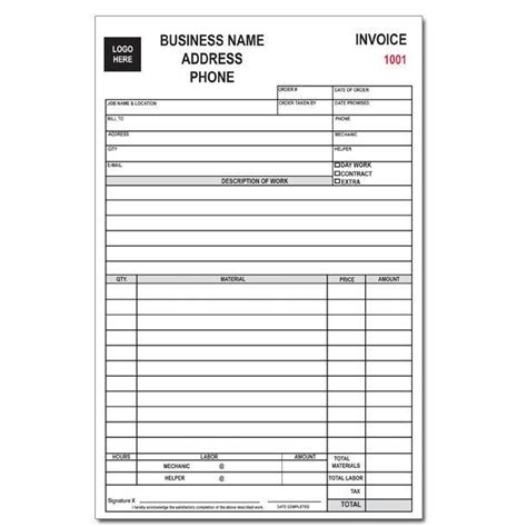 auto repair receipt template auto repair receipt template business