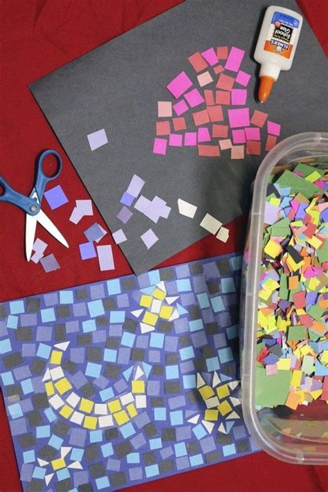 Arts And Crafts Ideas With Construction Paper - paper mosaics craft diy construction paper