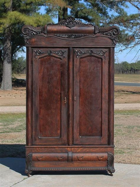 antique oak armoire wardrobe monumental tiger oak victorian armoire wardrobe with fancy