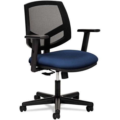 hon volt series black mesh  task chair  synchro tilt  navy fabric seat inset