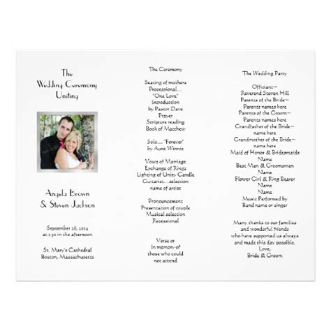 white tri fold photo template wedding program letterhead
