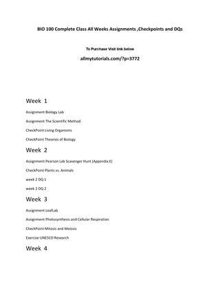 light duty work exles bio 100 complete class all weeks assignments checkpoints