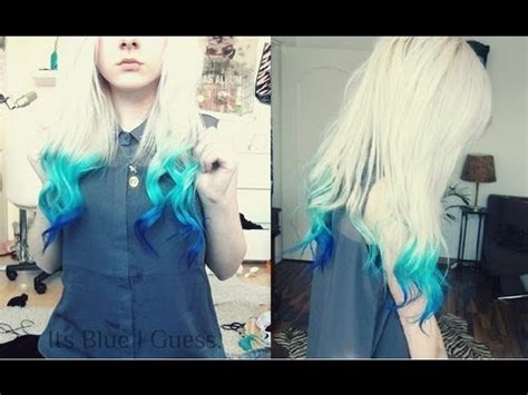 How to: Blue dip dye, Blue Ombre Hair   YouTube