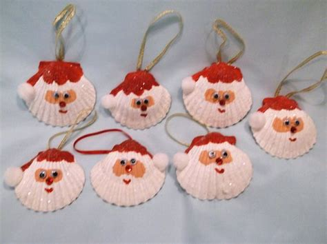 christmas crafts with shells items similar to set of two seashell santa ornaments on etsy
