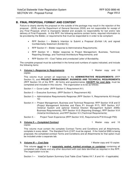 rfp sections section viii proposal format a introduction
