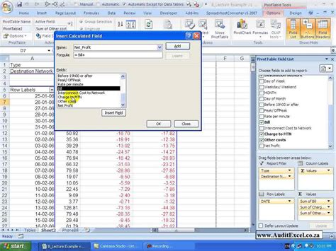 Pivot Table Calculated Item by Pivot Tables 2007 Calculated Fields Calculated Items