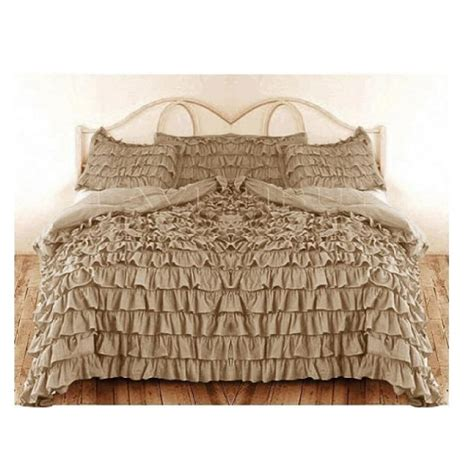 Waterfall Ruffle Duvet Cover Beige 1000tc Egyptian Cotton