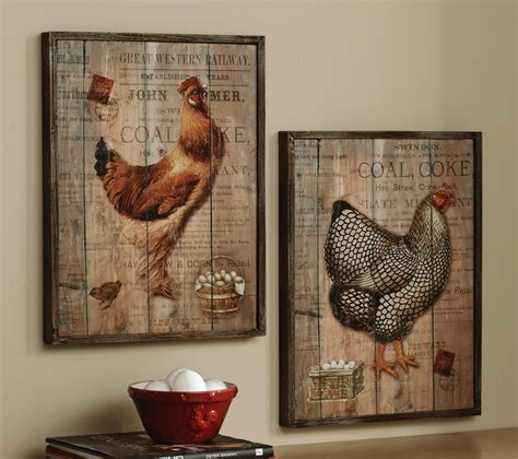 rustic rooster and hen country wall decor set