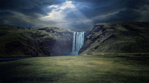 iceland waterfall hd wallpapers 4k skogafoss waterfall iceland uhd 4k wallpaper pixelz