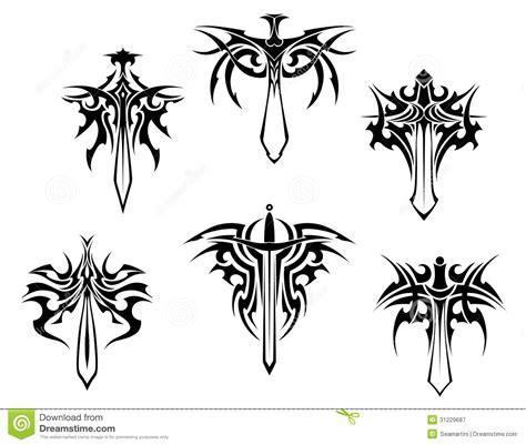 tattoo with swords and daggers stock vector image 31229687