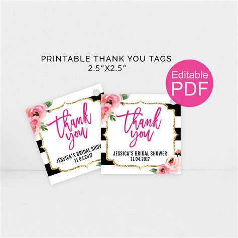 printable thank you tags pinterest printable thank you tags diy kate spade theme party favor