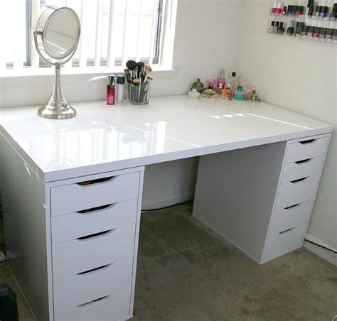 white vanity desk with drawers white makeup vanity and storage ikea linnmon alex