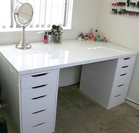 White Makeup Vanity and Storage IKEA Linnmon Alex Minimalist Desk Design Ideas