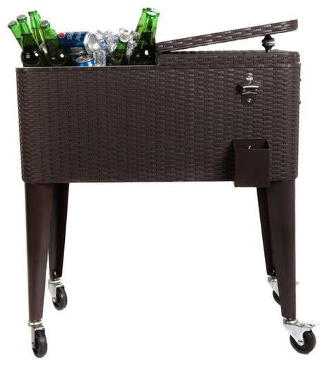 Patio Table Cooler Hio 80 Qt Outdoor Patio Cooler Table On Wheels Brown Wicker Brown No She Contemporary