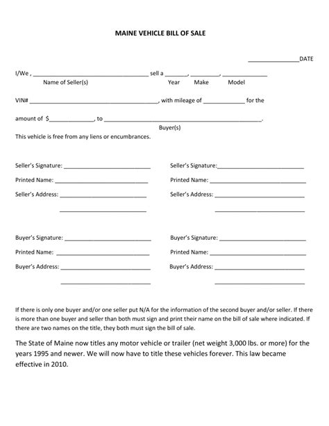 bill of sale for vehicle free maine motor vehicle bill of sale form pdf eforms