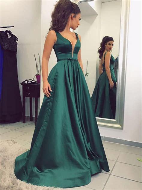 chic prom dresses  neck   floor length dark green