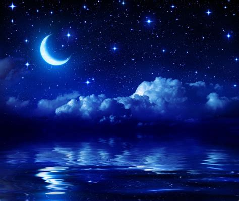 Night Sky Wall Mural starry night with crescent moon on sea wall mural pixers