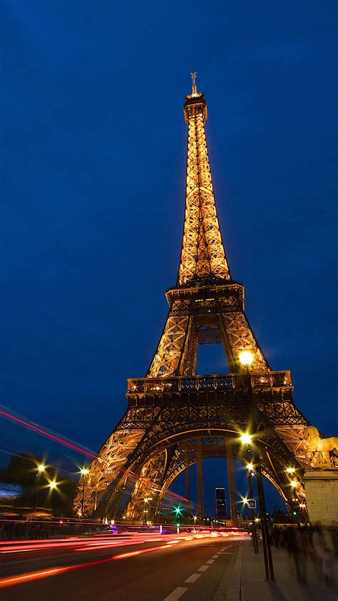 eiffel tower lock screen night android wallpaper