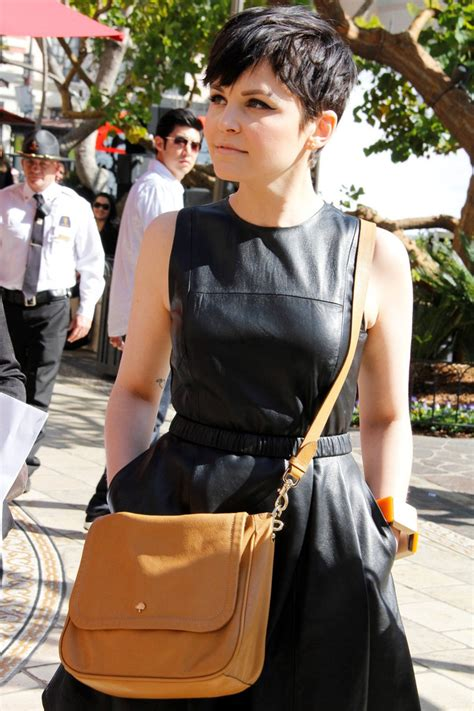 how dress with a pixie hairstyle ginnifer goodwin makes an appearance in a cute leather