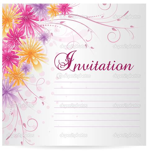 invitation card template with curly floral background and decorative