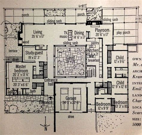 mid century modern homes floor plans 25 best ideas about modern courtyard on pinterest