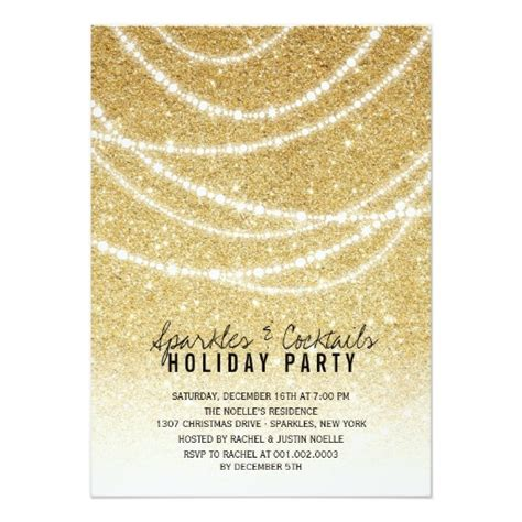 Stylish Holiday Gold Glitter Sparkles Party Invitation Card Glitter Invitation Template