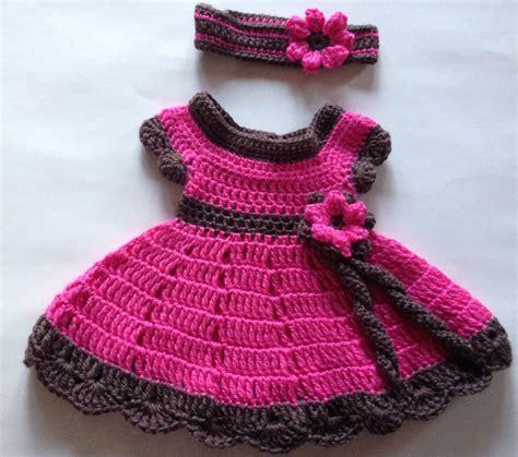 vestido en crochet para recin nacida vestido crochet tejido rosa con cafe para bebe nina y bandana