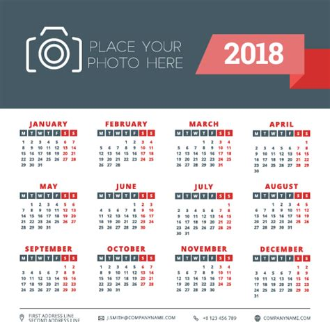 business calendar template 2018 business calendar template vectors 02 vector