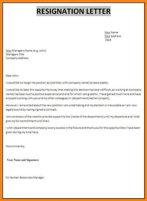 How To Type Resign Letter by 6 How To Type A Resignation Letter Applicationleter