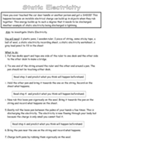 static electricity review worksheet answers static electricity experiment 3rd grade worksheet lesson planet