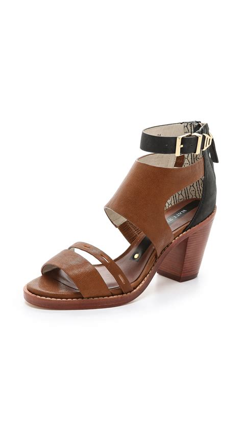 matt bernson sandals matt bernson harrison sandals black cognac in brown lyst