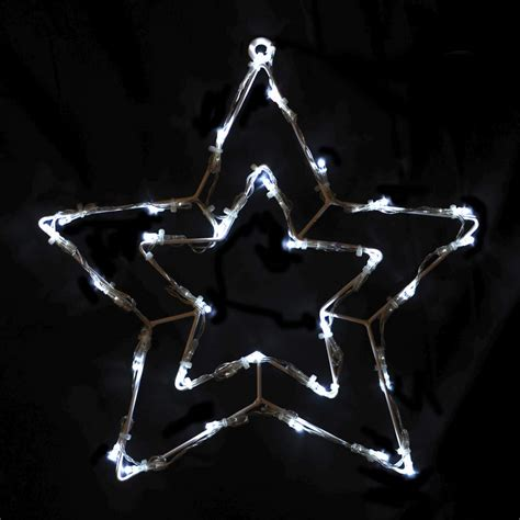 wire frame double star christmas decoration with 30 white
