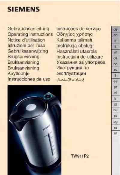 Kühlschrank Steht Wasser by Siemens Tw 911p2wasserkocher Pdf Anleitung F 195 188 R