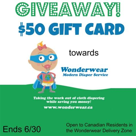 Diaper Gift Card - contest win 50 gift card toward wonderwear diaper service your contests canada