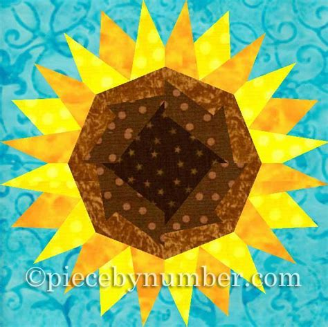 Sunflower Quilt Block Pattern by Sunflower Paper Pieced Quilt Block By Piecebynumber Craftsy