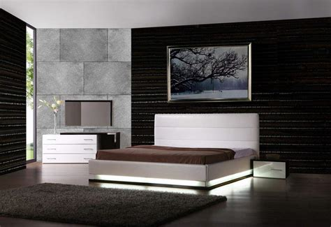 Modern Furniture Set Exotic Leather Modern Contemporary Bedroom Sets Feat Light