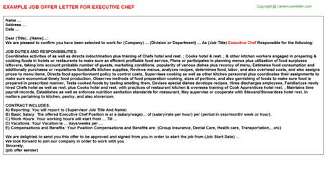 appointment letter format for executive chef executive chef offer letter sle format
