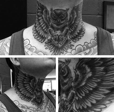 owl tattoo back of neck 30 owl neck tattoo designs for men bird ink ideas