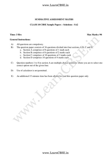 email format cbse class x cbse sle papers class 10 maths sa ii solved 4