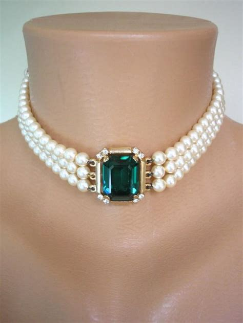 Choker Pearly Wings Choker emerald necklace bridal necklace statement pearl necklace great gatsby rosita pearl choker