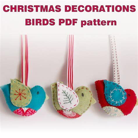 pdf pattern felt christmas ornaments birds by roxycreations